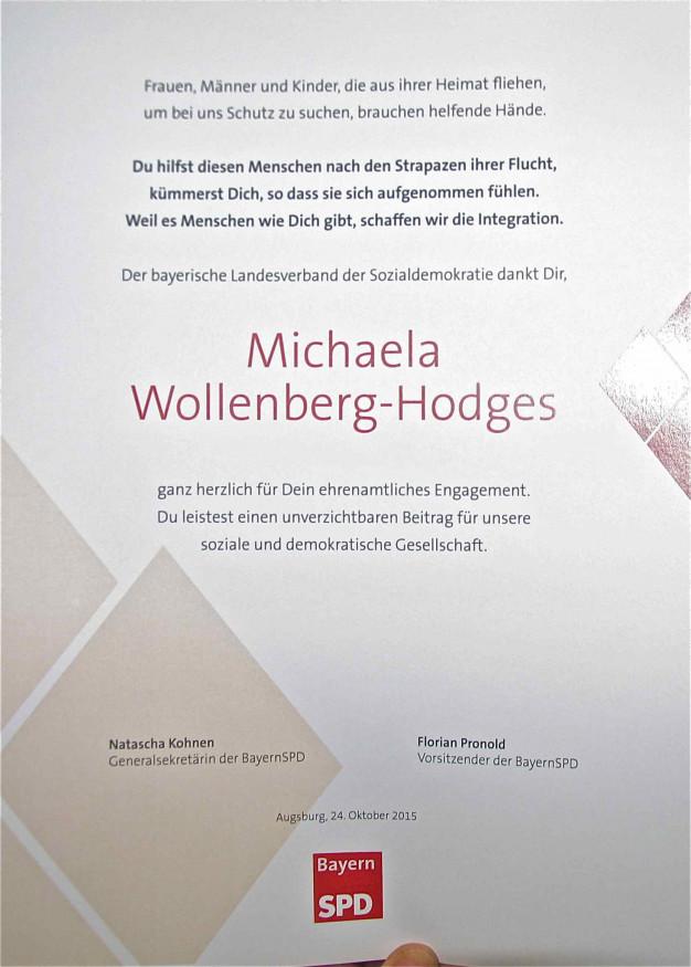 Großer Dank und höchste Anerkennung auch der Maisacher SPD sei allen Asylhelfern und in besonderem Maße Michaela Wollenberg-Hodges ausgesprochen.